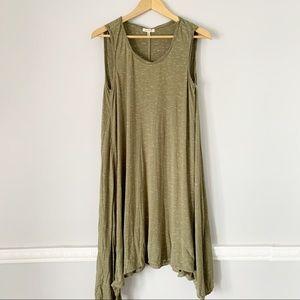 Max Studio Earthy Green Loose Fit Tank Dress L